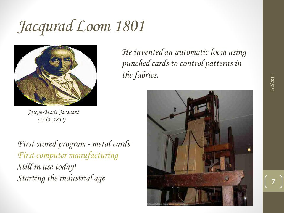 Jacqurad Loom 1801 He invented an automatic loom using punched cards to control patterns in the fabrics.