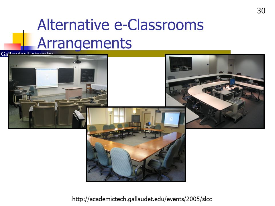 Alternative e-Classrooms Arrangements