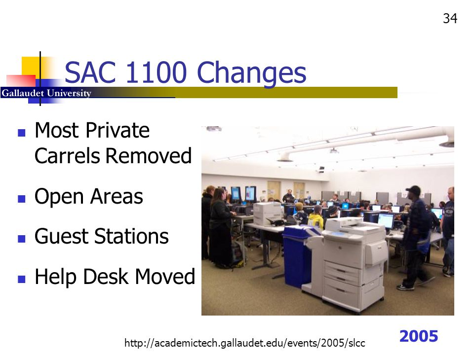 SAC 1100 Changes Most Private Carrels Removed Open Areas