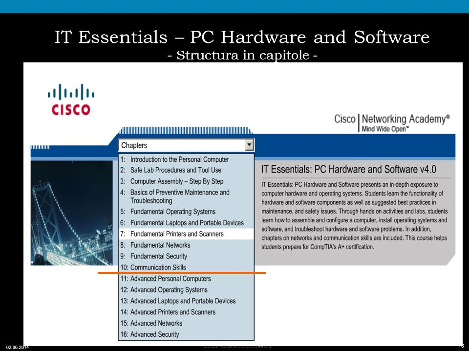 IT Essentials – PC Hardware and Software - Structura in capitole -