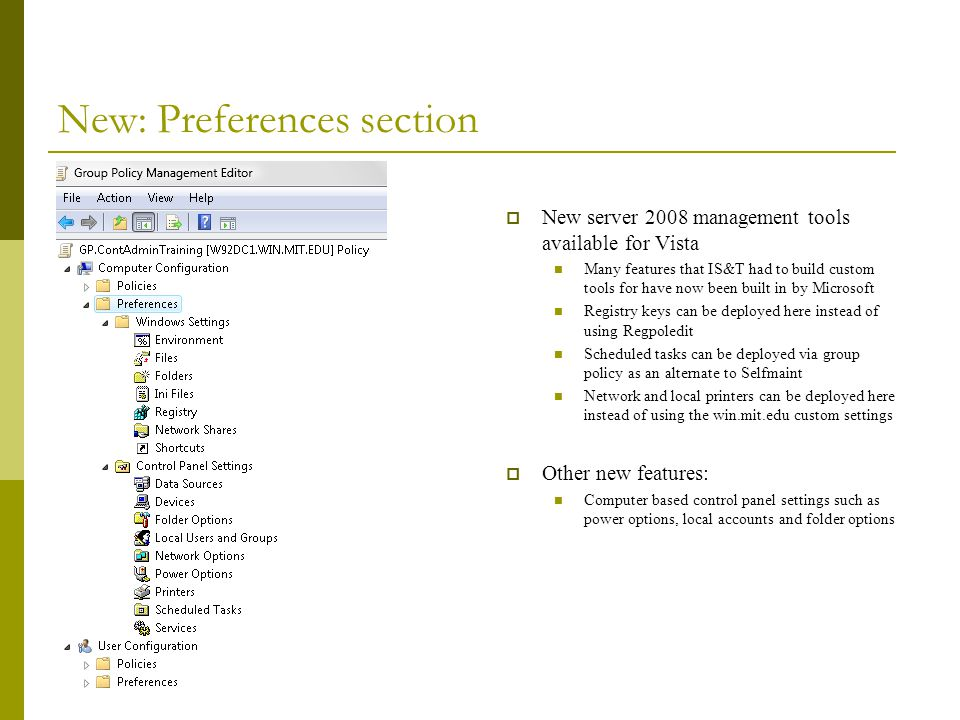 New: Preferences section