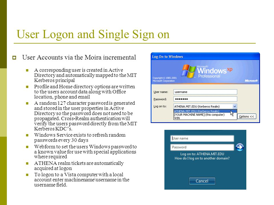 User Logon and Single Sign on