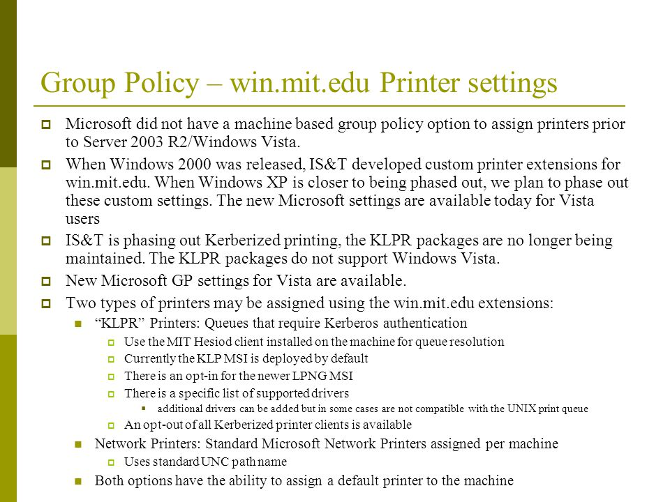 Group Policy – win.mit.edu Printer settings