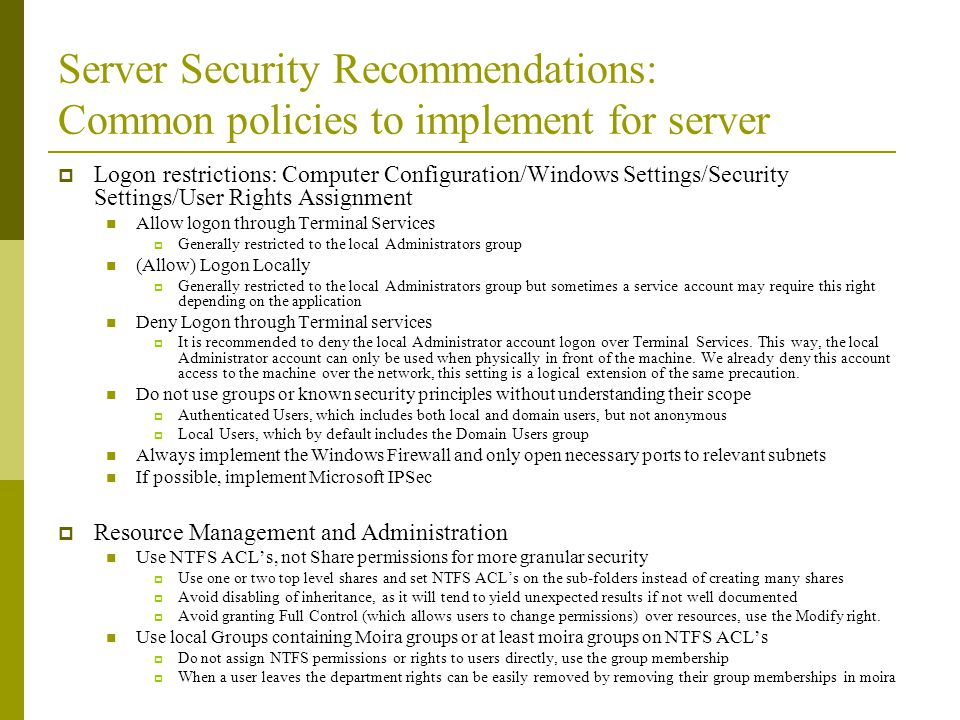 Server Security Recommendations: Common policies to implement for server