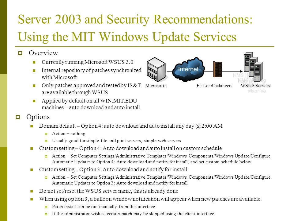 Server 2003 and Security Recommendations: Using the MIT Windows Update Services