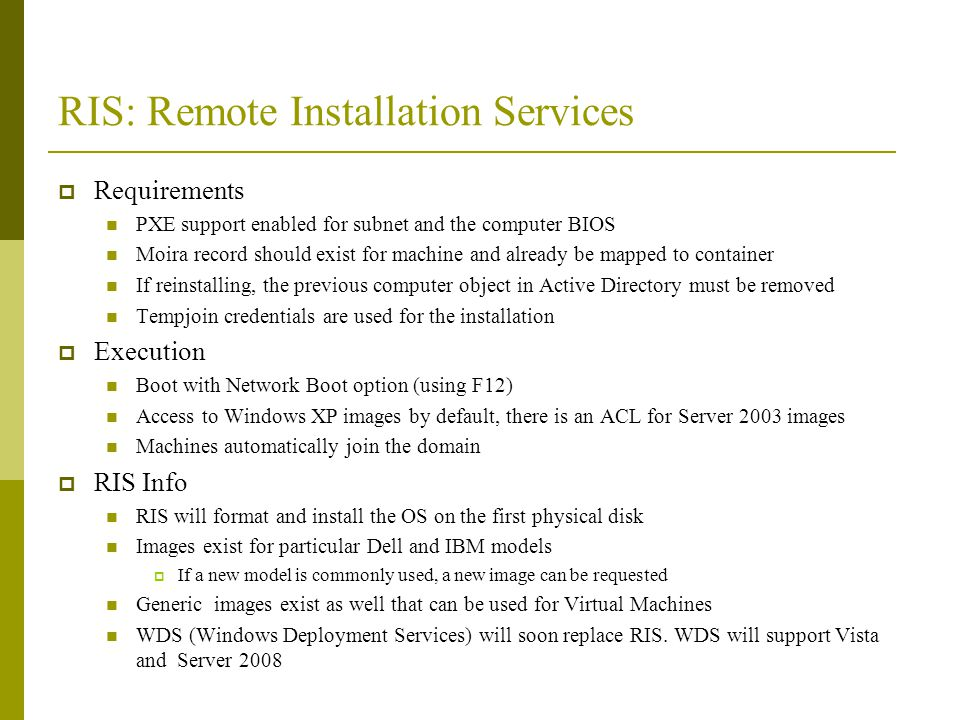 RIS: Remote Installation Services