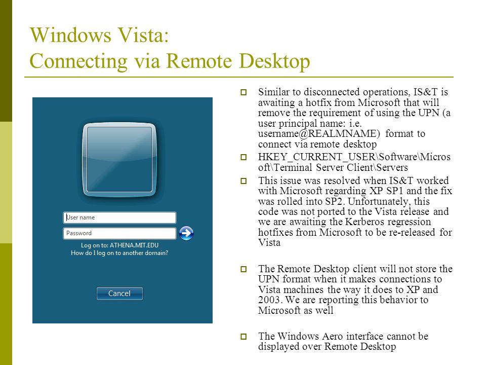 Windows Vista: Connecting via Remote Desktop