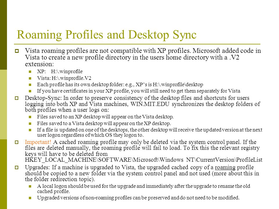 Roaming Profiles and Desktop Sync