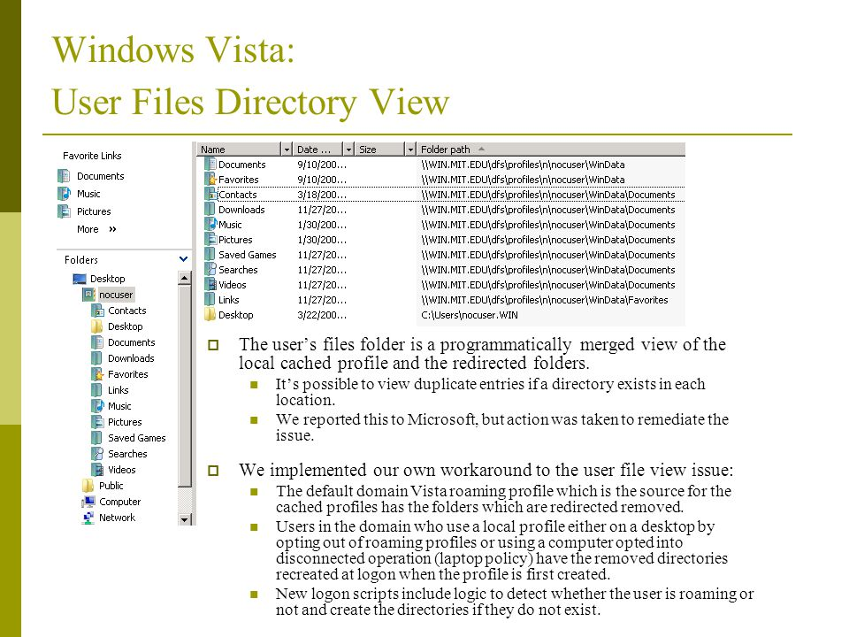 Windows Vista: User Files Directory View
