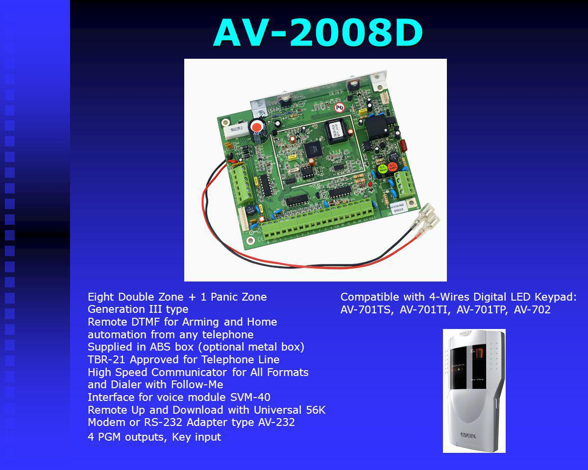 AV-2008D Compatible with 4-Wires Digital LED Keypad: AV-701TS, AV-701TI, AV-701TP, AV-702.