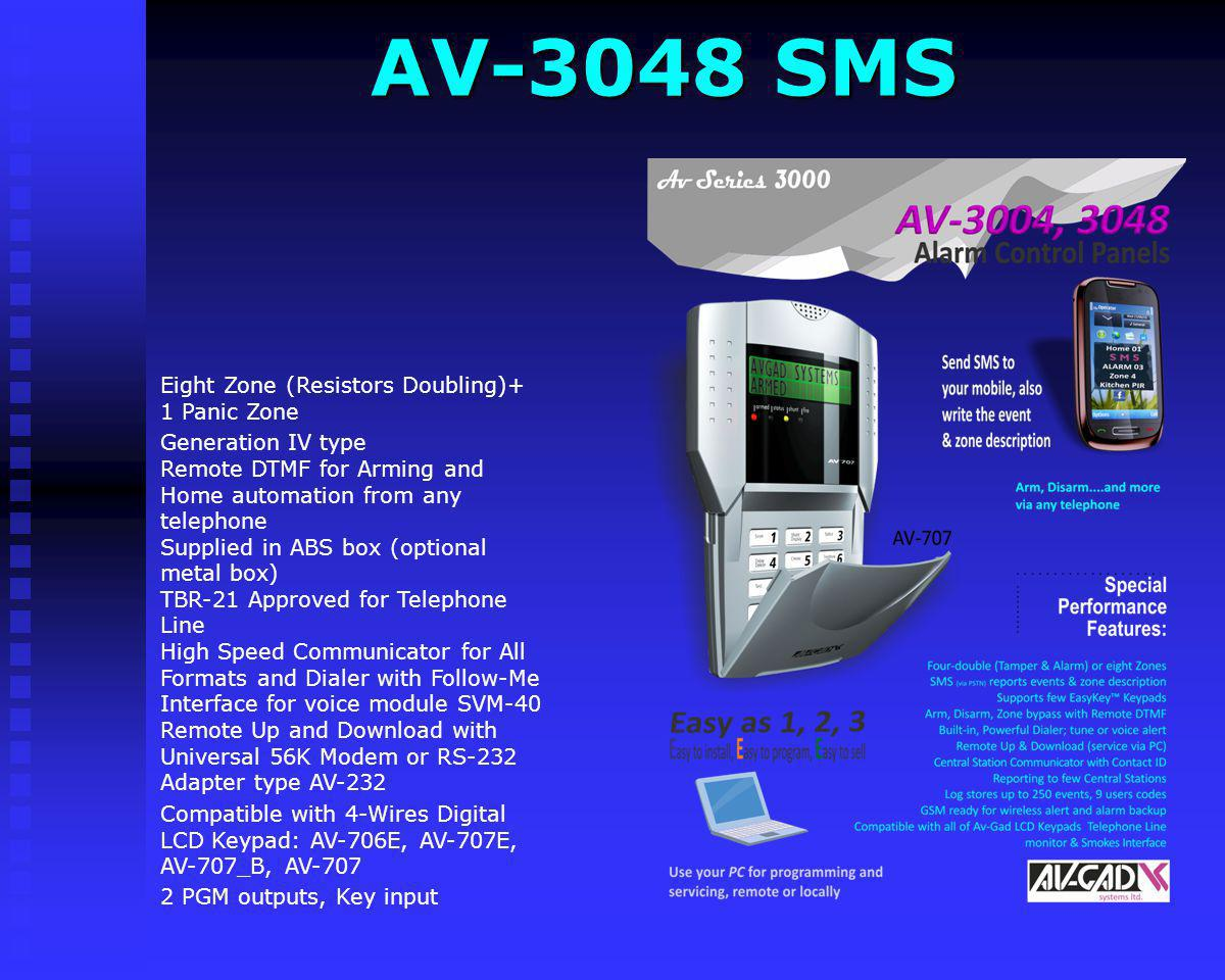 AV-3048 SMS Eight Zone (Resistors Doubling)+ 1 Panic Zone