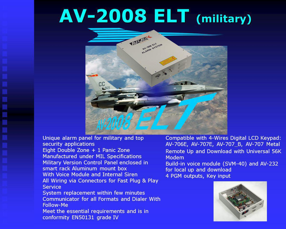 AV-2008 ELT (military) Compatible with 4-Wires Digital LCD Keypad: AV-706E, AV-707E, AV-707_B, AV-707 Metal.