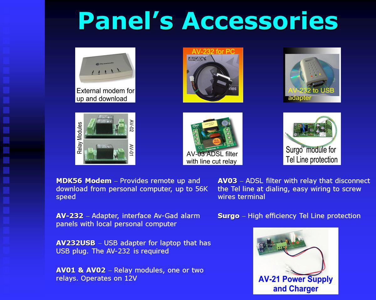 Panel's Accessories AV03 – ADSL filter with relay that disconnect the Tel line at dialing, easy wiring to screw wires terminal.