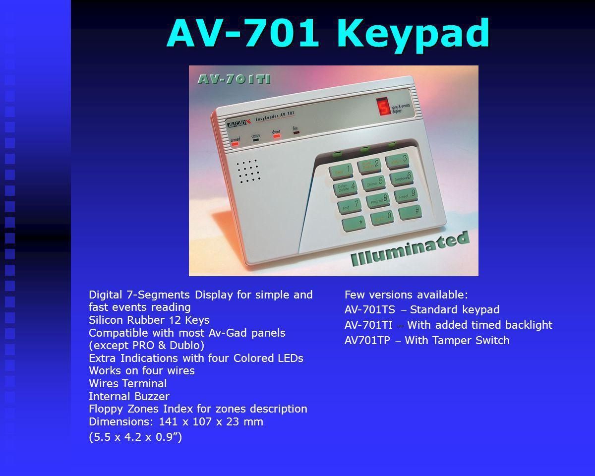 AV-701 Keypad Few versions available: AV-701TS – Standard keypad