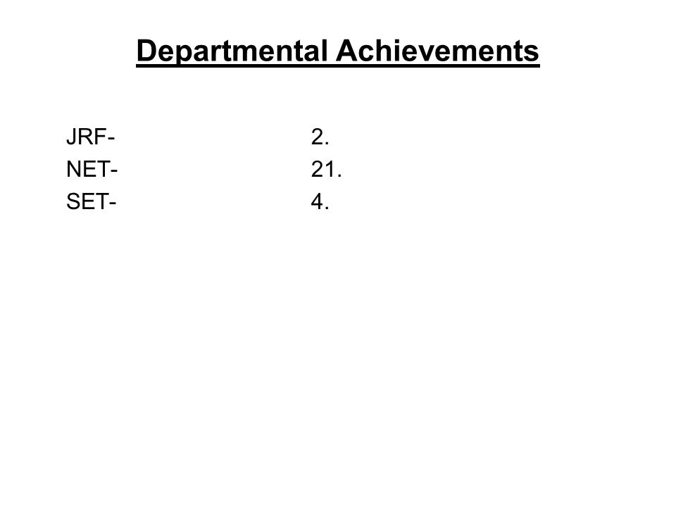 Departmental Achievements