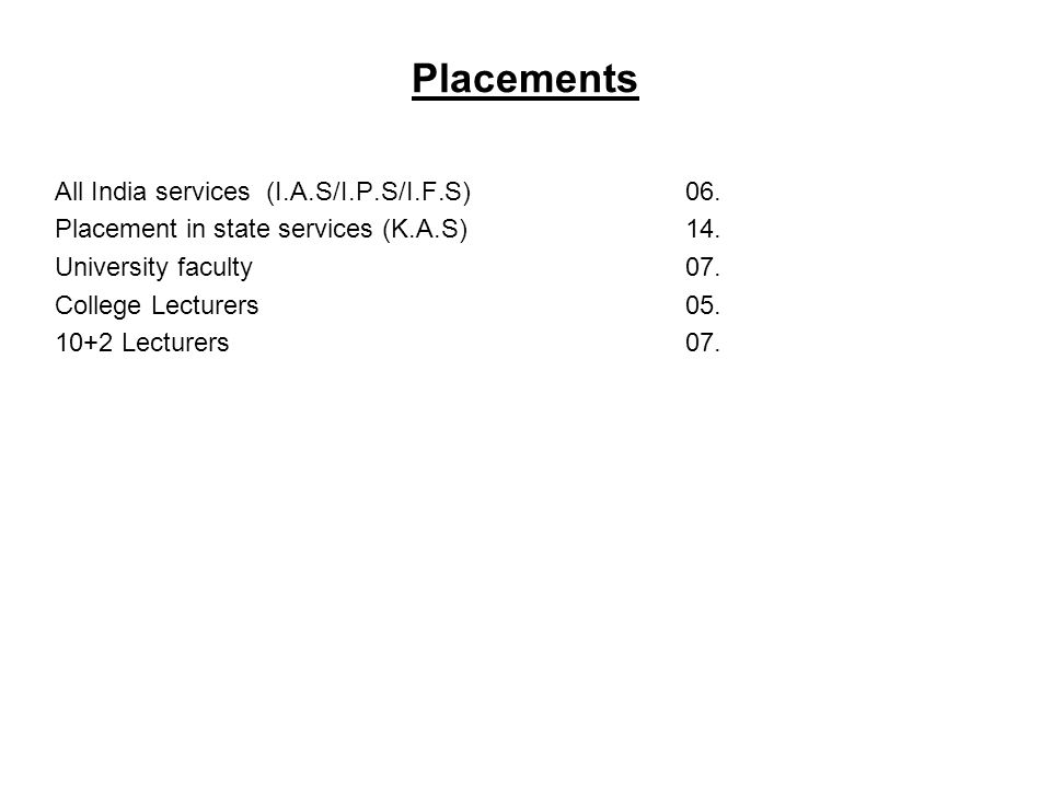 Placements All India services (I.A.S/I.P.S/I.F.S) 06.
