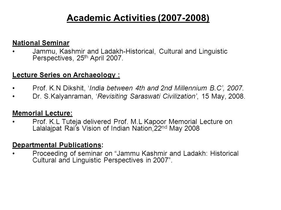 Academic Activities (2007-2008)