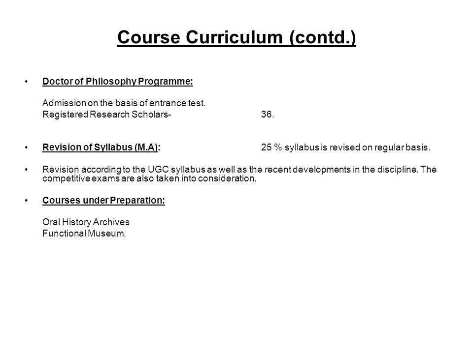 Course Curriculum (contd.)