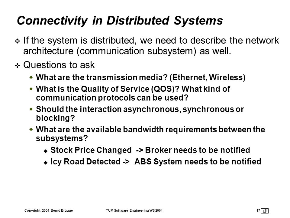 Connectivity in Distributed Systems