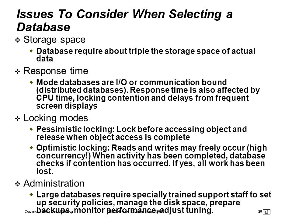 Issues To Consider When Selecting a Database