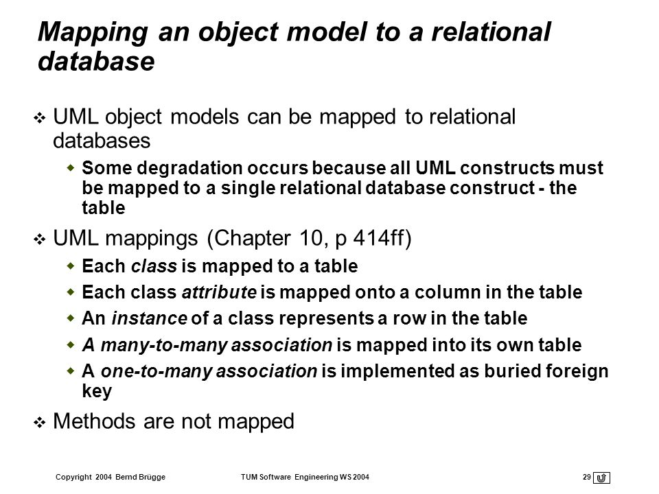 Mapping an object model to a relational database