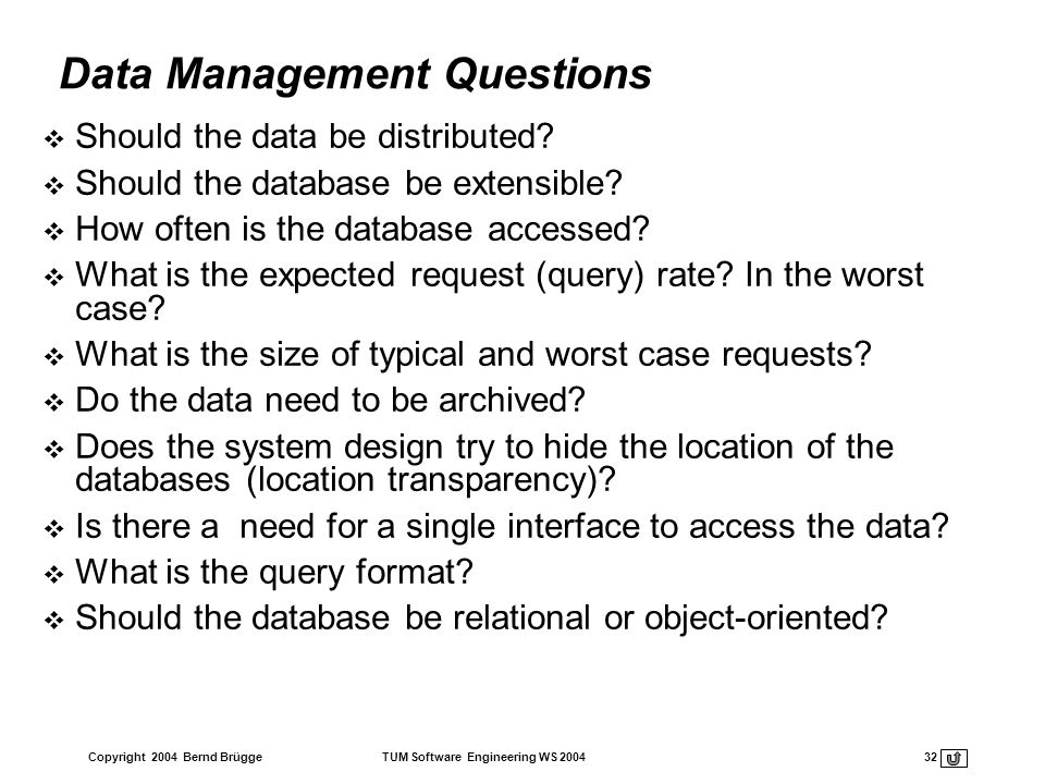 Data Management Questions