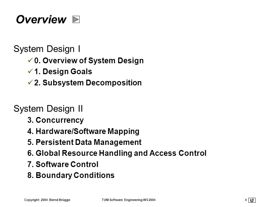 Overview System Design I System Design II 0. Overview of System Design