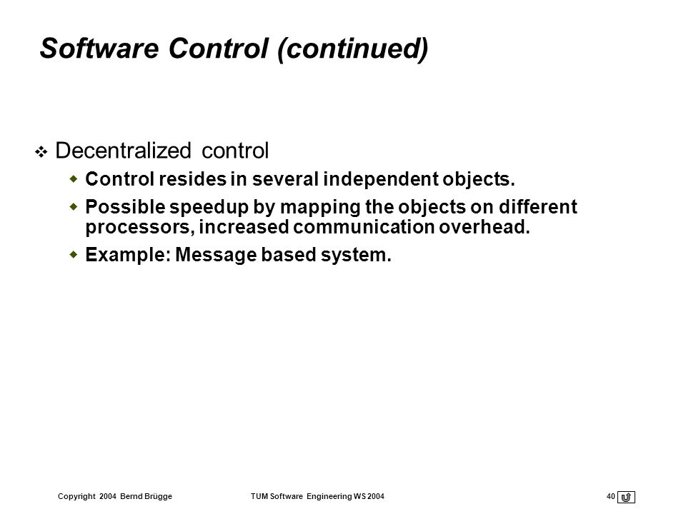 Software Control (continued)