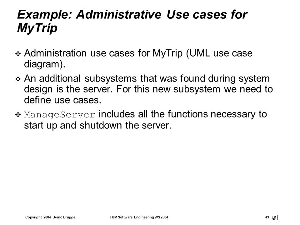 Example: Administrative Use cases for MyTrip