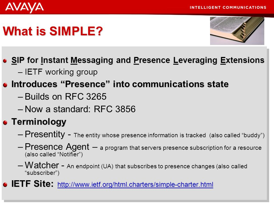 What is SIMPLE Introduces Presence into communications state