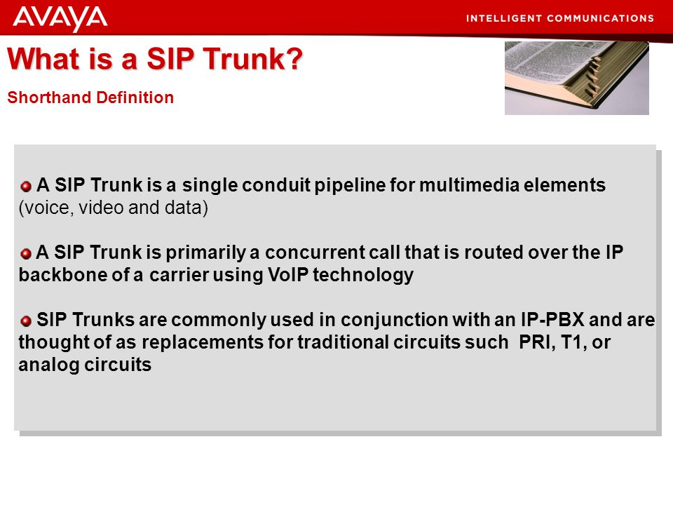 What is a SIP Trunk Shorthand Definition. A SIP Trunk is a single conduit pipeline for multimedia elements (voice, video and data)