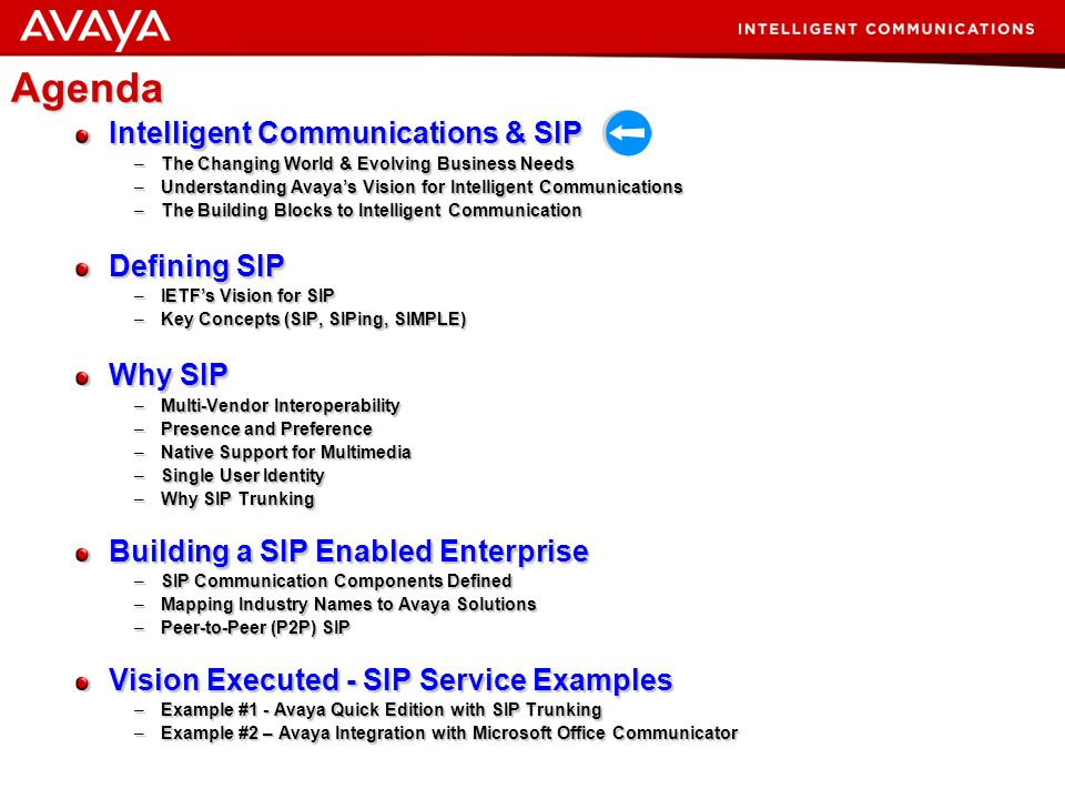 Agenda Intelligent Communications & SIP Defining SIP Why SIP