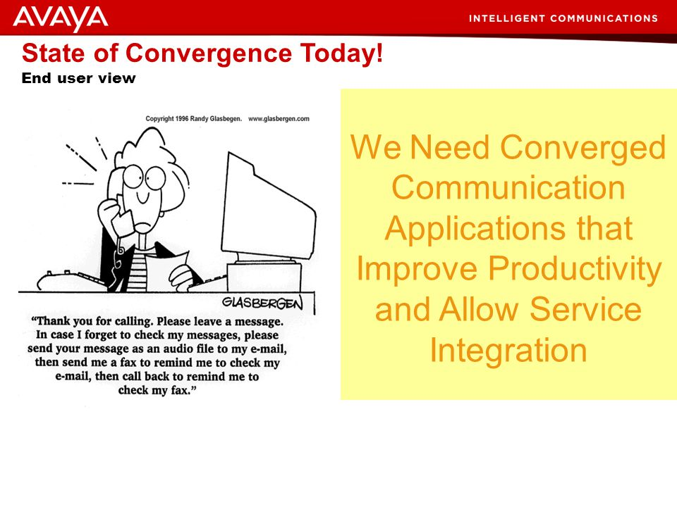 State of Convergence Today! End user view