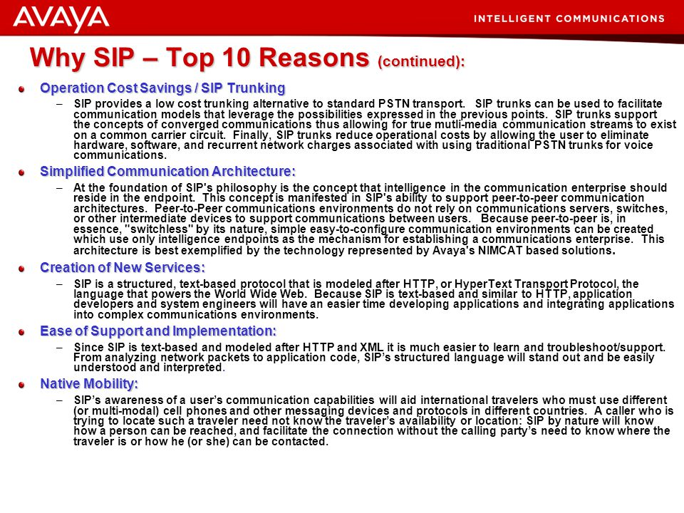 Why SIP – Top 10 Reasons (continued):