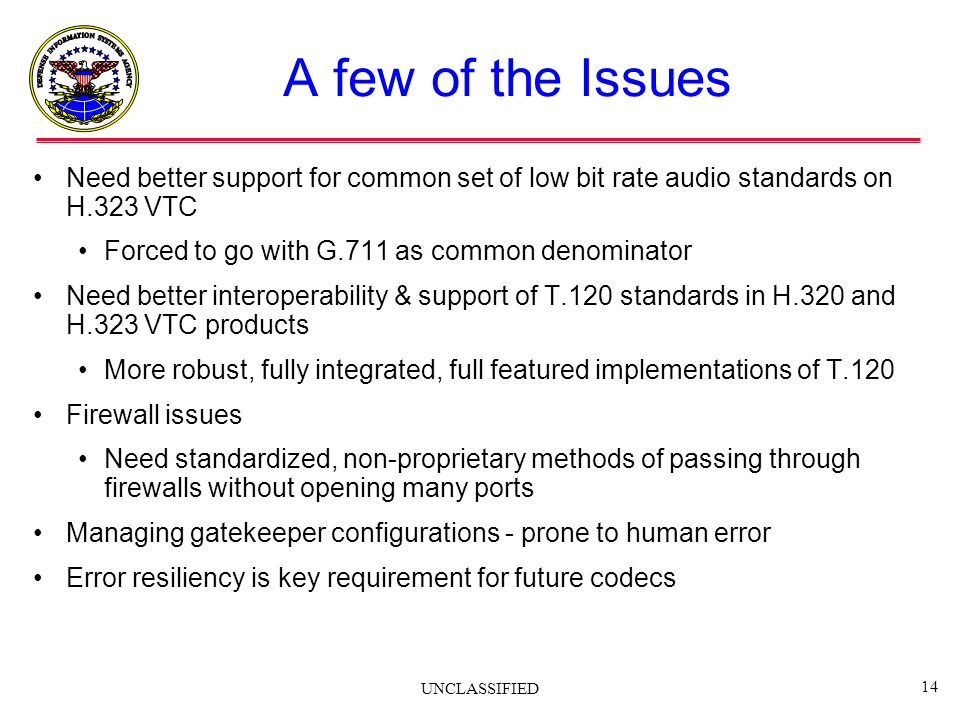 A few of the Issues Need better support for common set of low bit rate audio standards on H.323 VTC.