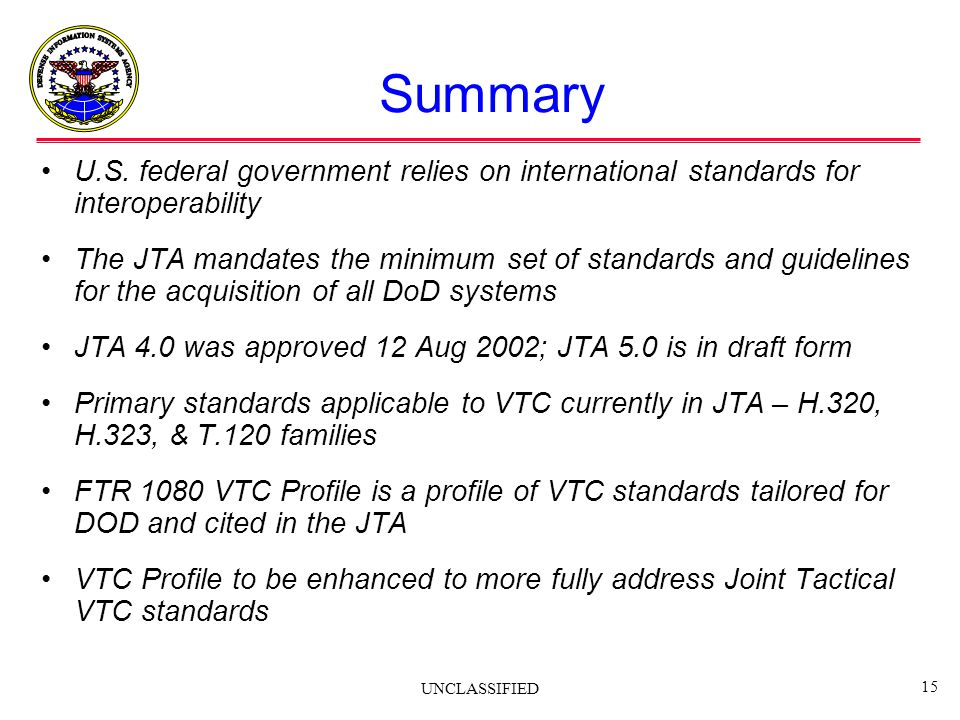 Summary U.S. federal government relies on international standards for interoperability.
