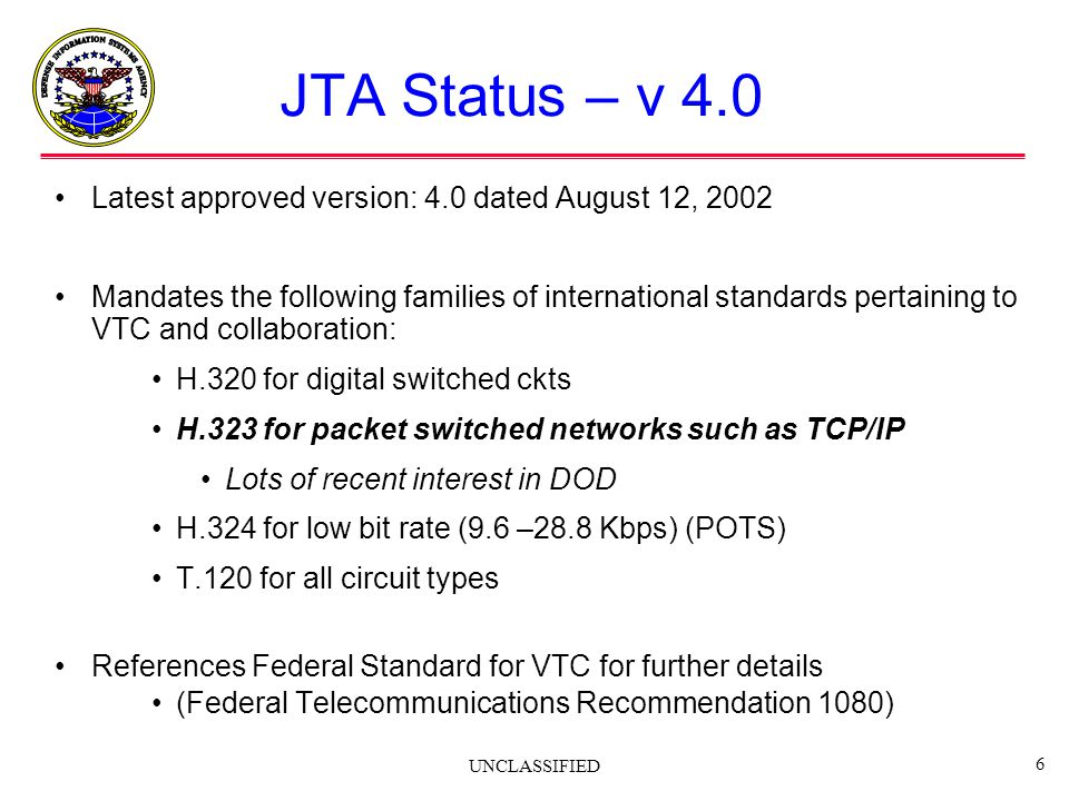 JTA Status – v 4.0 Latest approved version: 4.0 dated August 12, 2002