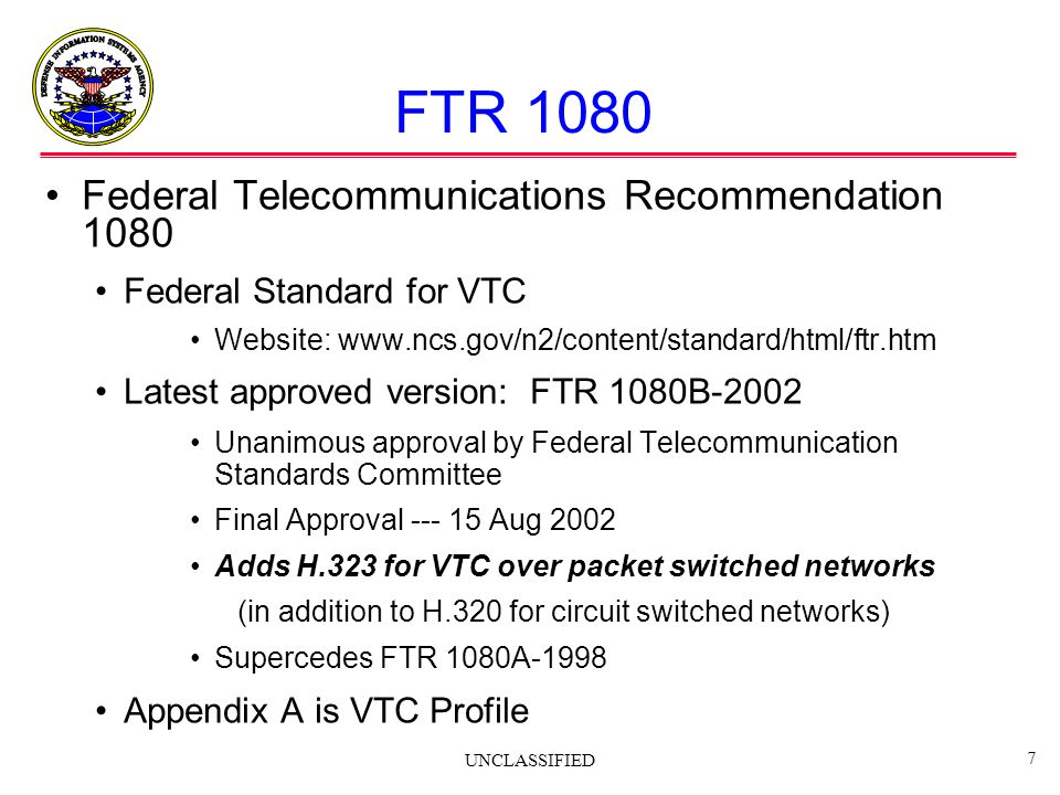 FTR 1080 Federal Telecommunications Recommendation 1080