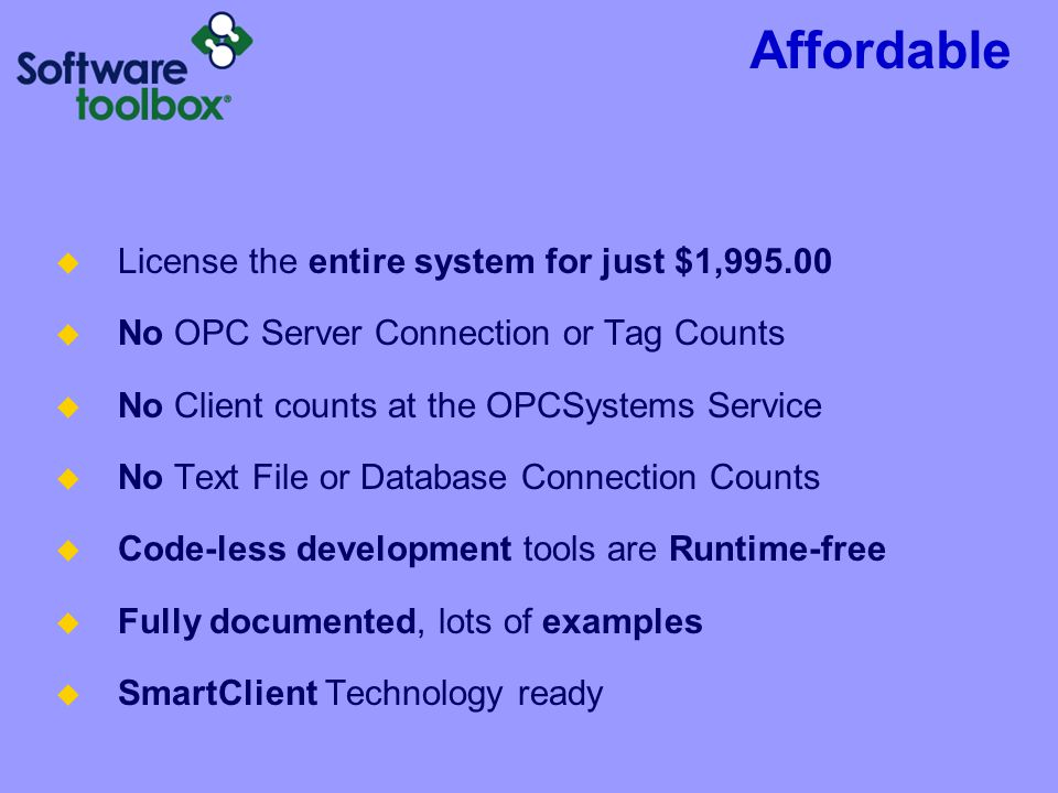 Affordable License the entire system for just $1,995.00