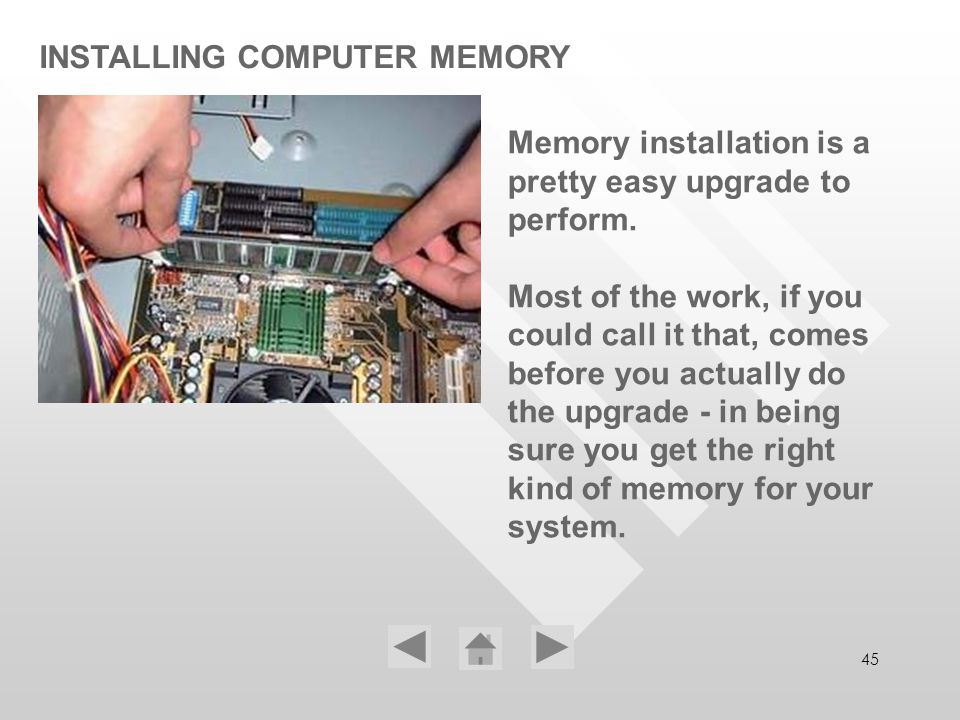 INSTALLING COMPUTER MEMORY