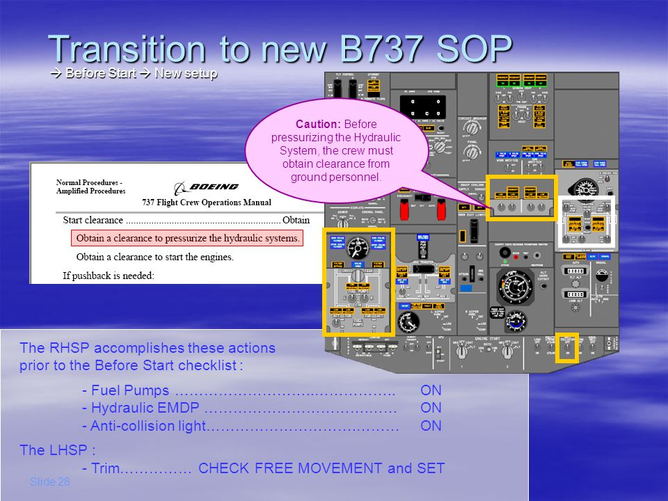 Transition to new B737 SOP  Before Start  New setup.
