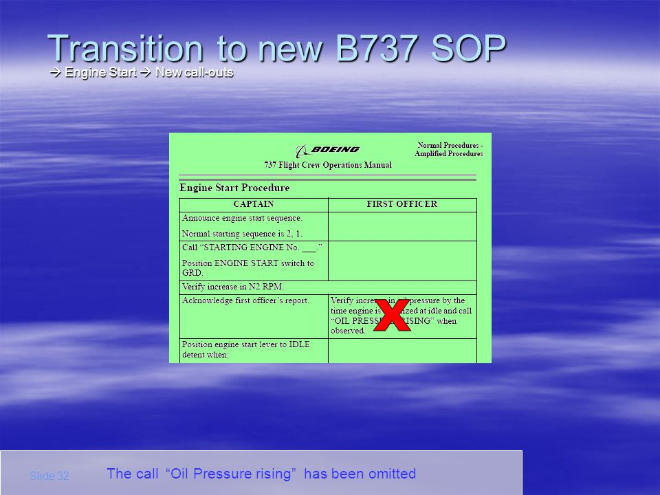 Transition to new B737 SOP X