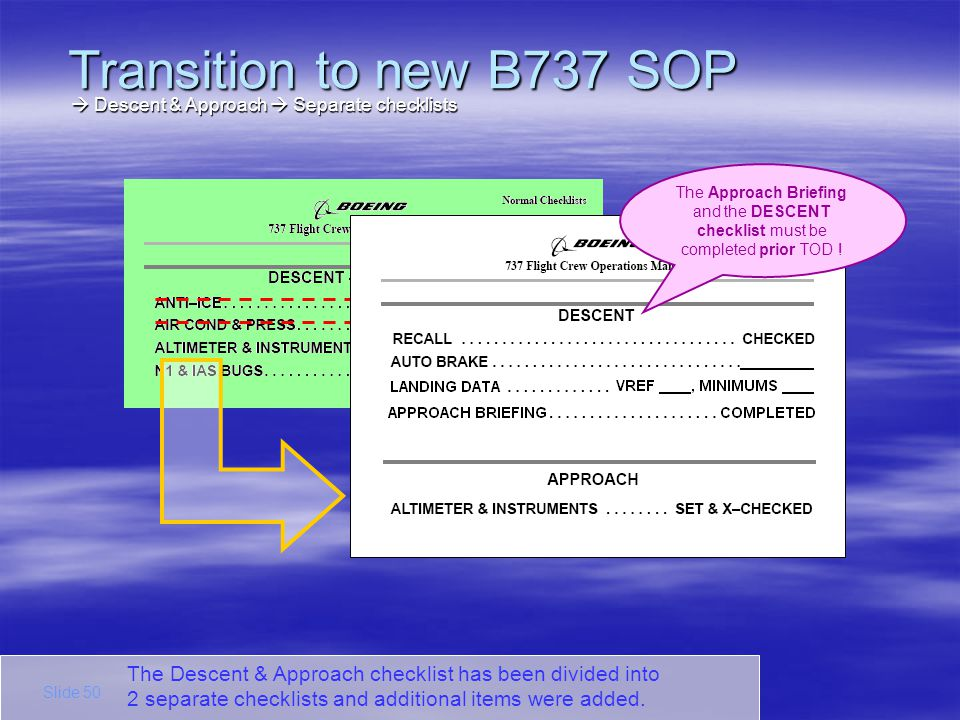Transition to new B737 SOP  Descent & Approach  Separate checklists. The Approach Briefing and the DESCENT checklist must be completed prior TOD !