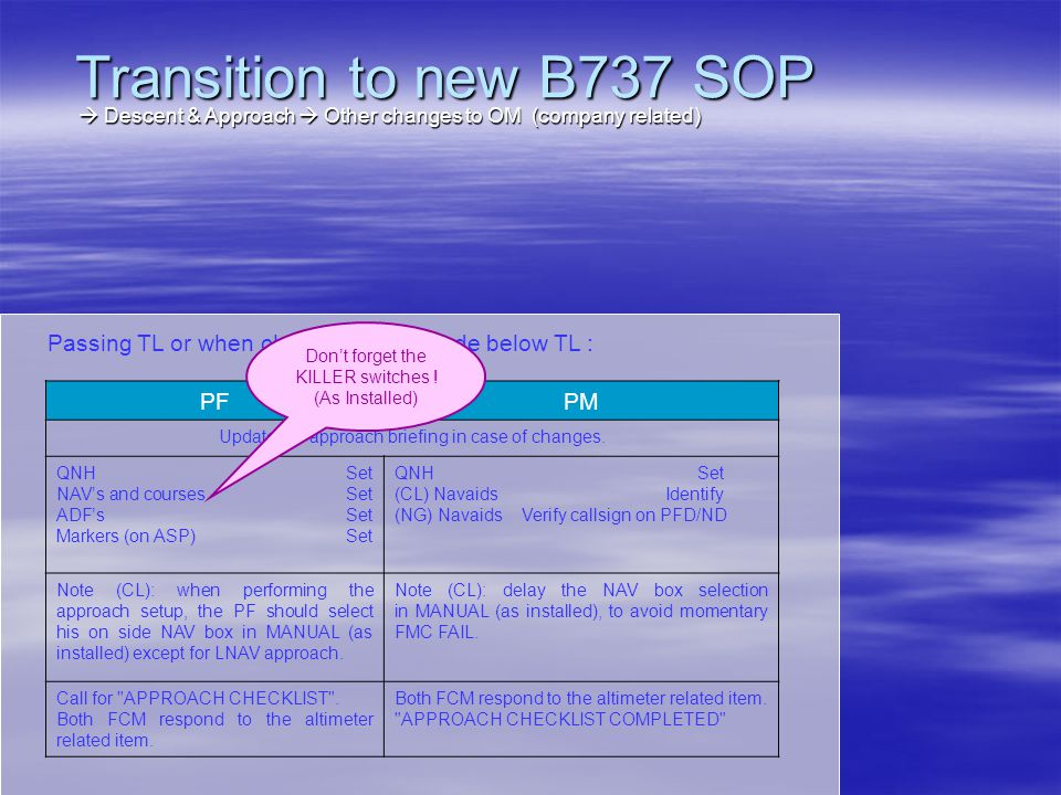 Transition to new B737 SOP  Descent & Approach  Other changes to OM (company related) Passing TL or when cleared to an altitude below TL :