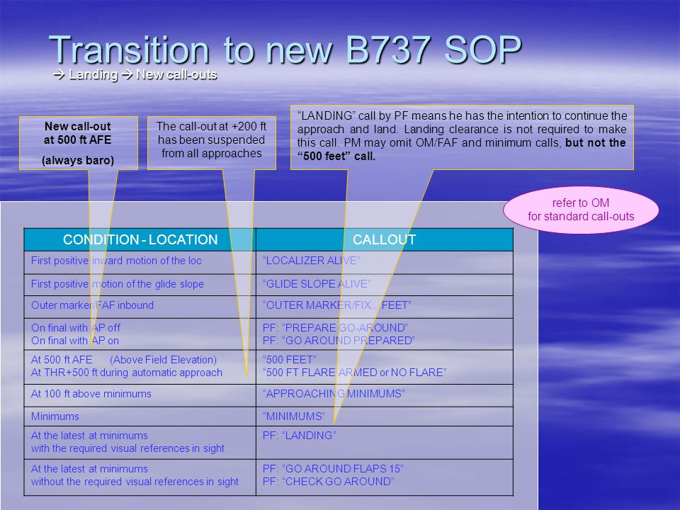 Transition to new B737 SOP  Landing  New call-outs