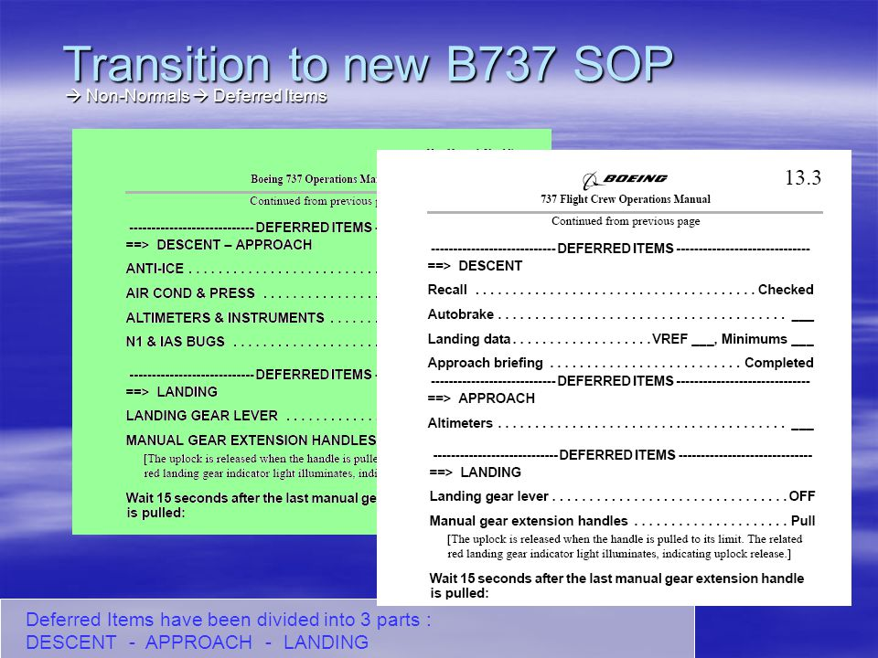Transition to new B737 SOP  Non-Normals  Deferred Items.