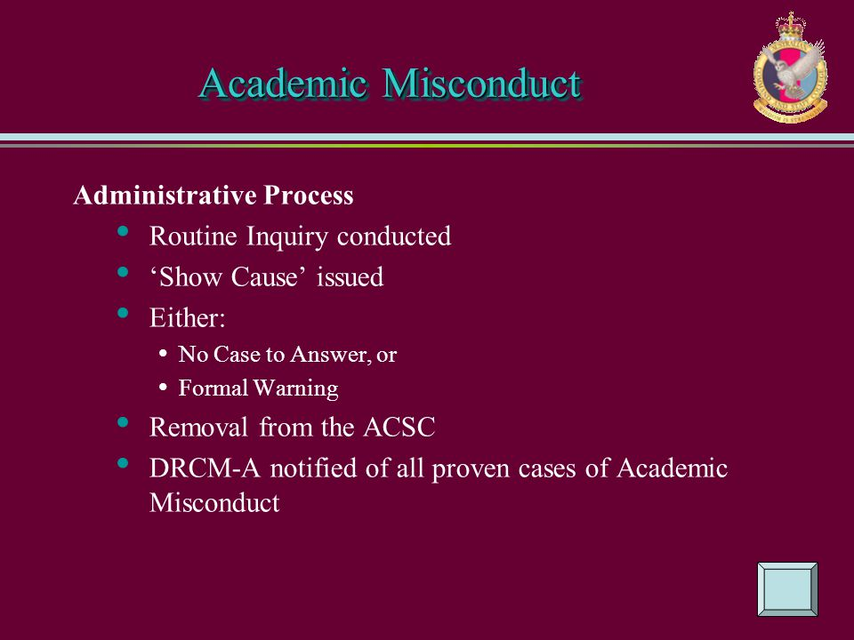 Academic Misconduct Administrative Process Routine Inquiry conducted