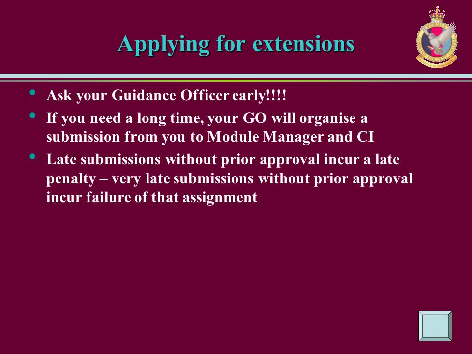 Applying for extensions