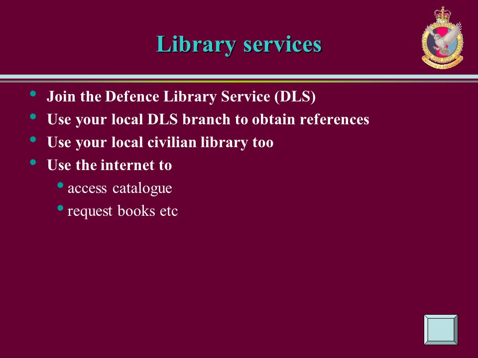 Library services Join the Defence Library Service (DLS)