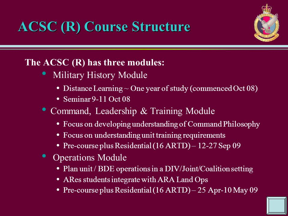 ACSC (R) Course Structure